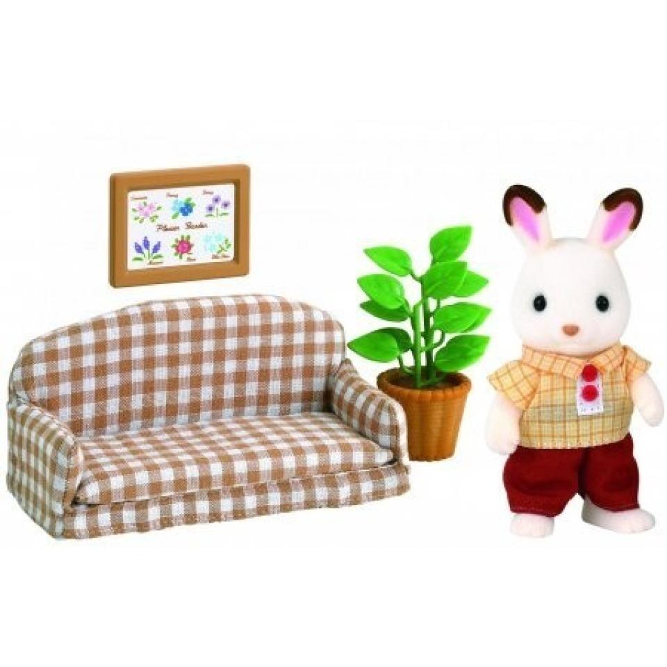 Obrázek 1 produktu Sylvanian Families 5013 Nábytek čokoládových králíků - taťka na pohovce