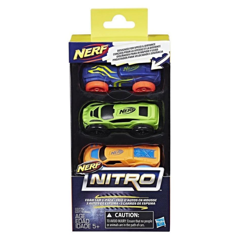 Obrázek 1 produktu NERF Nitro náhradní vozidla 3 ks, modré, zelené, oranžové, Hasbro C0775