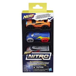 Obrázek 2 produktu NERF Nitro náhradní vozidla 3 ks, oranžové, modré, šedé. Hasbro C0777
