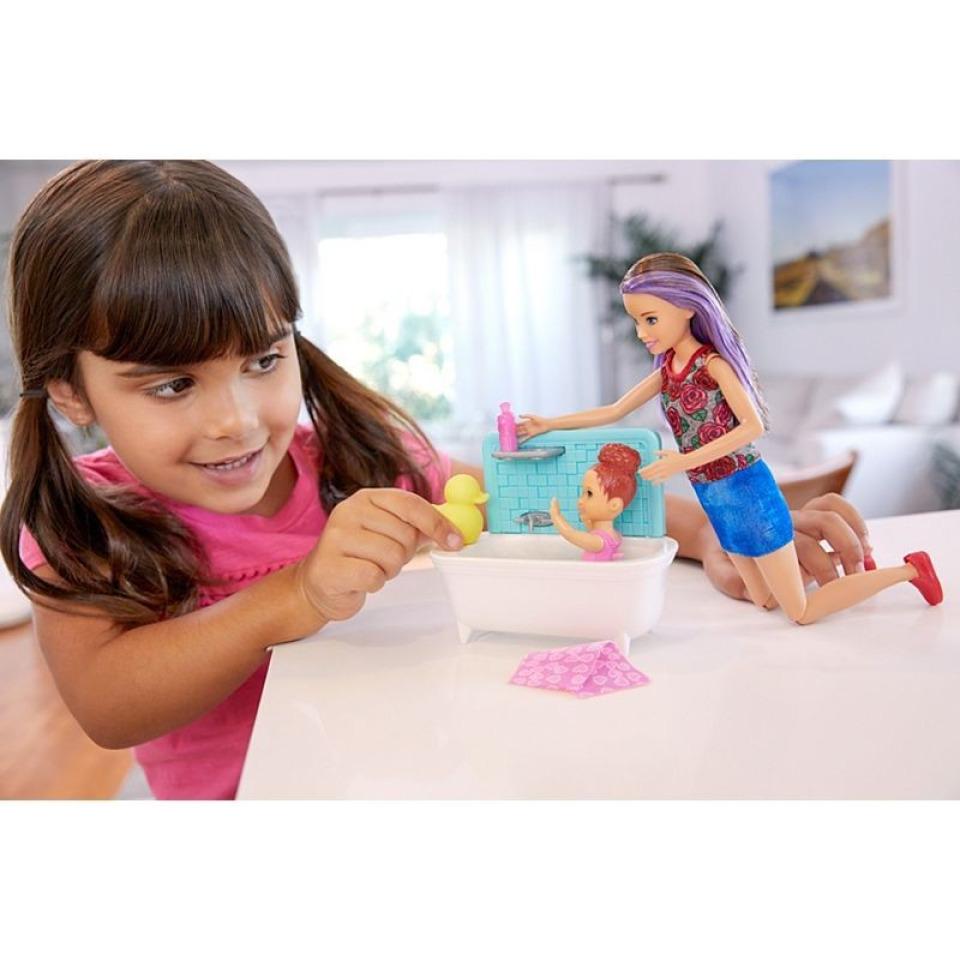 Obrázek 3 produktu Barbie Chůva herní set v koupelně, Mattel FXH05
