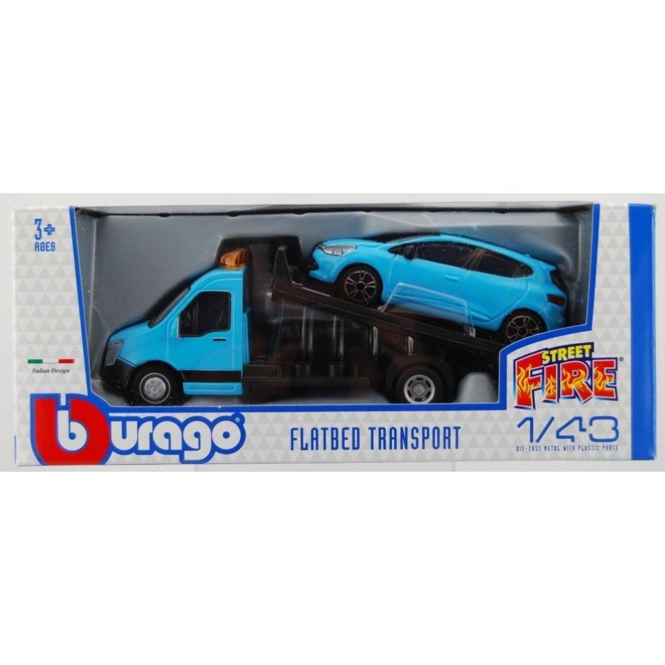 Obrázek 1 produktu Burago Flatbed Transport 1:43 + Renault Clio modré