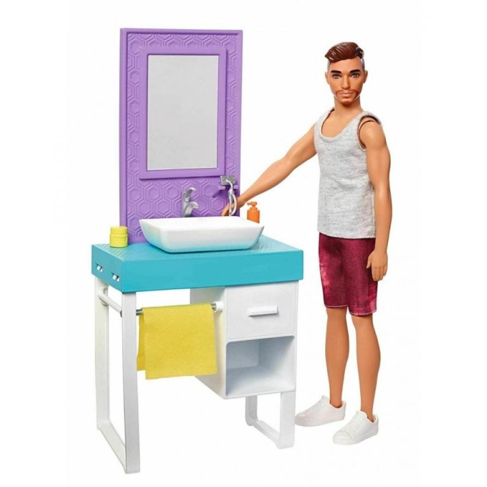 Obrázek 1 produktu Barbie Ken s nábytkem - Koupelna, Mattel FYK53