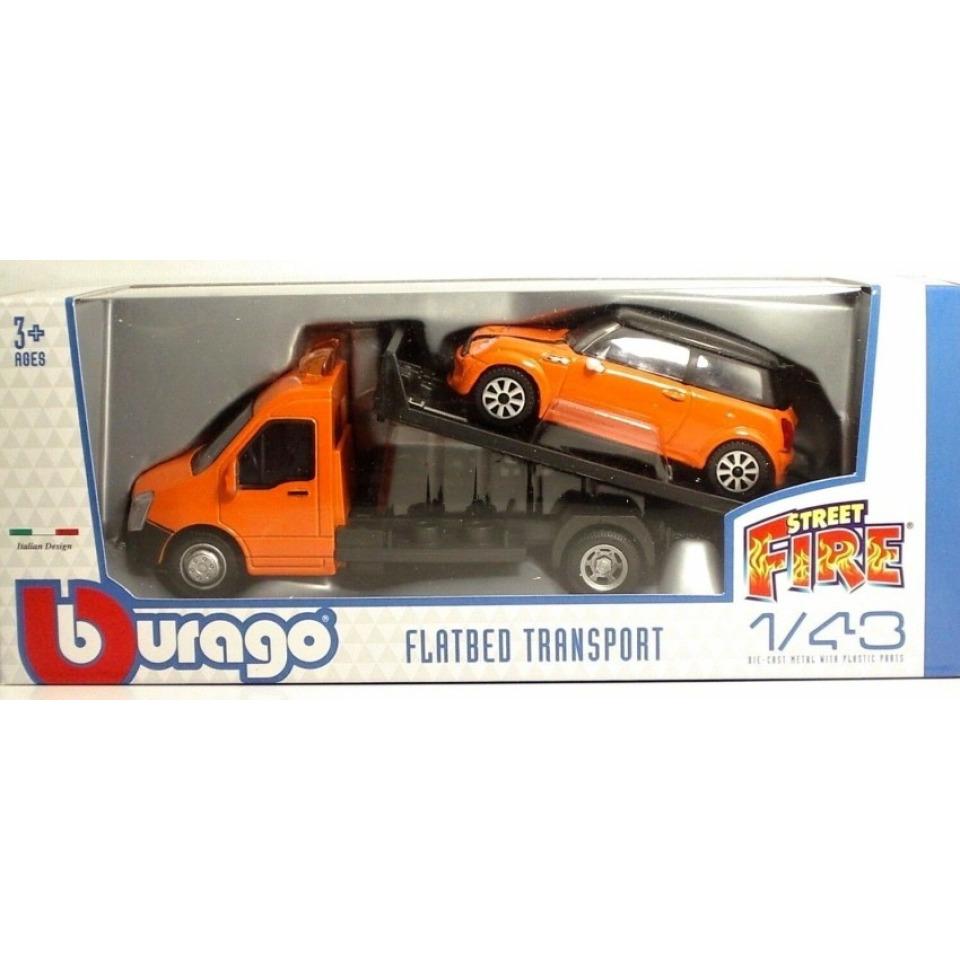 Obrázek 1 produktu Burago Flatbed Transport 1:43 + Mini Cooper oranžové