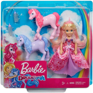 Obrázek 5 produktu Mattel Barbie Princezna Chelsea a hříbátka jednorožce, GJK17