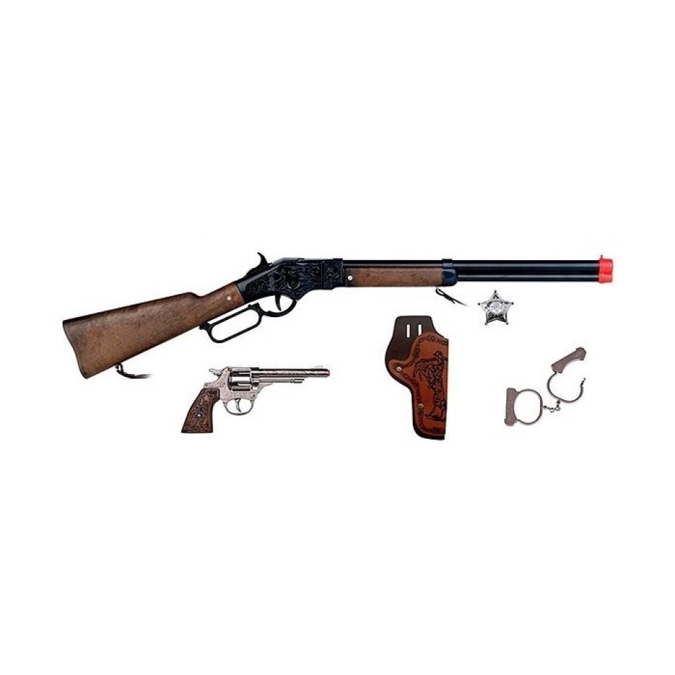 Obrázek 1 produktu Gonher Kovbojská sada velká - puška, revolver, pouta, šerifská hvězda