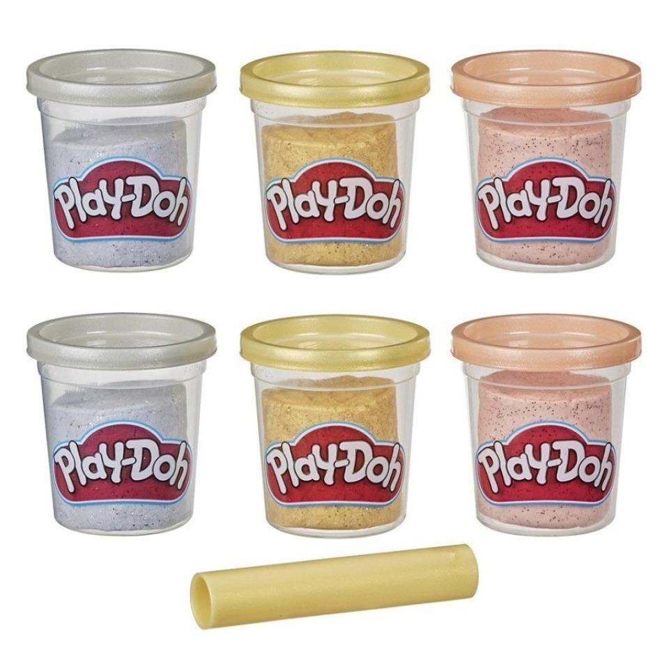 Obrázek 1 produktu Play Doh Sada 6 kelímků třpytivá zlatá, stříbrná a růžová, Hasbro E9433