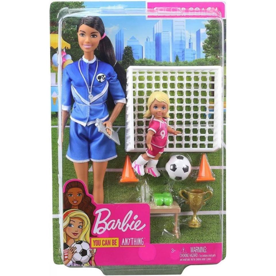 Obrázek 1 produktu Mattel Barbie fotbalová trenérka s panenkou herní set brunetka, Mattel GLM71