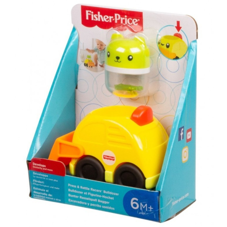 Obrázek 1 produktu Fisher Price Chrastící vozítka Žlutý bagr, Mattel FVC73