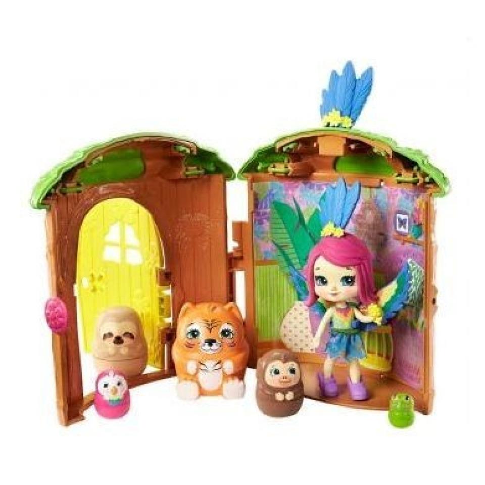 Obrázek 1 produktu ENCHANTIMALS Tajné útočiště nejlepších přátel, Peeki Parrot Tree Hut, Mattel GTM49