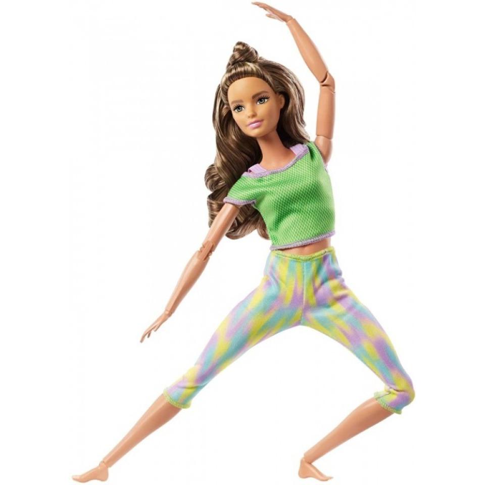 Obrázek 1 produktu Barbie Panenka V pohybu, brunetka v žíhaných legínách, Mattel GXF05