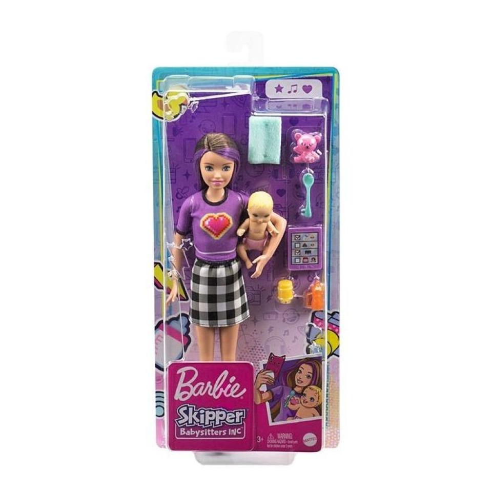 Obrázek 2 produktu Barbie Chůva Violet + miminko s doplňky, Mattel GRP11