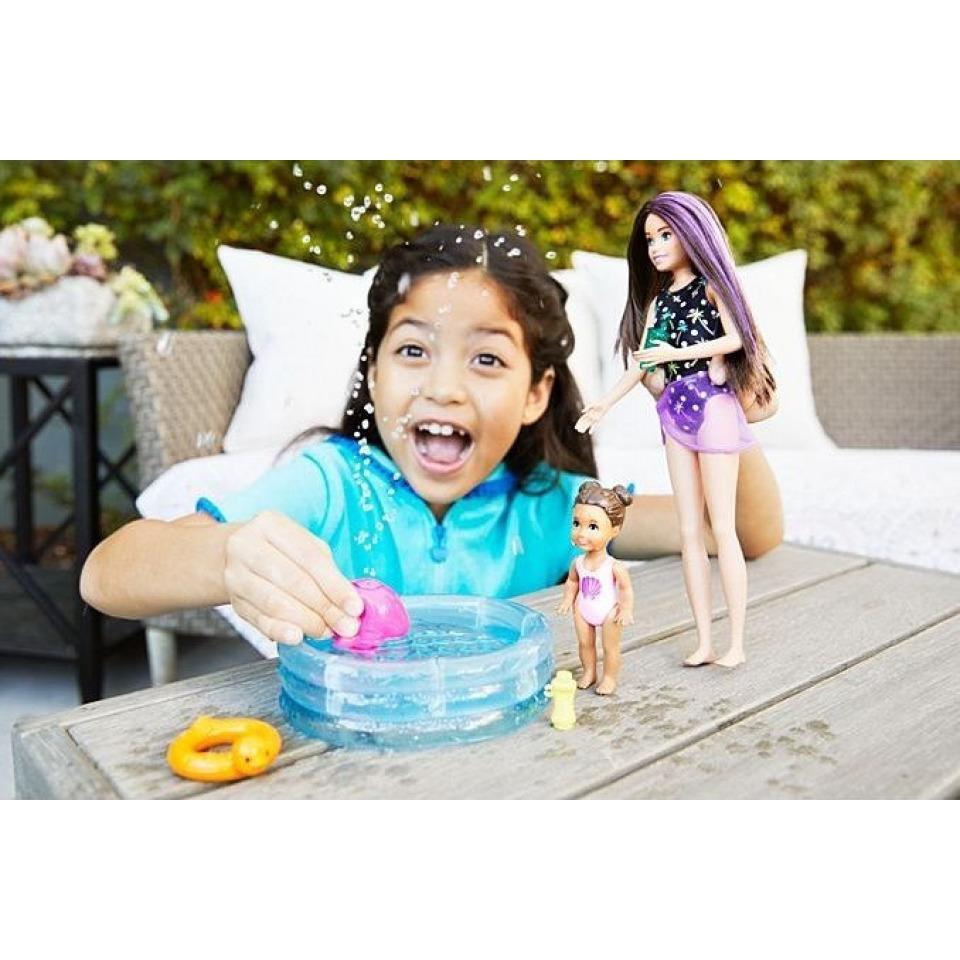 Obrázek 2 produktu Barbie Chůva herní set s bazénkem, Mattel GRP39