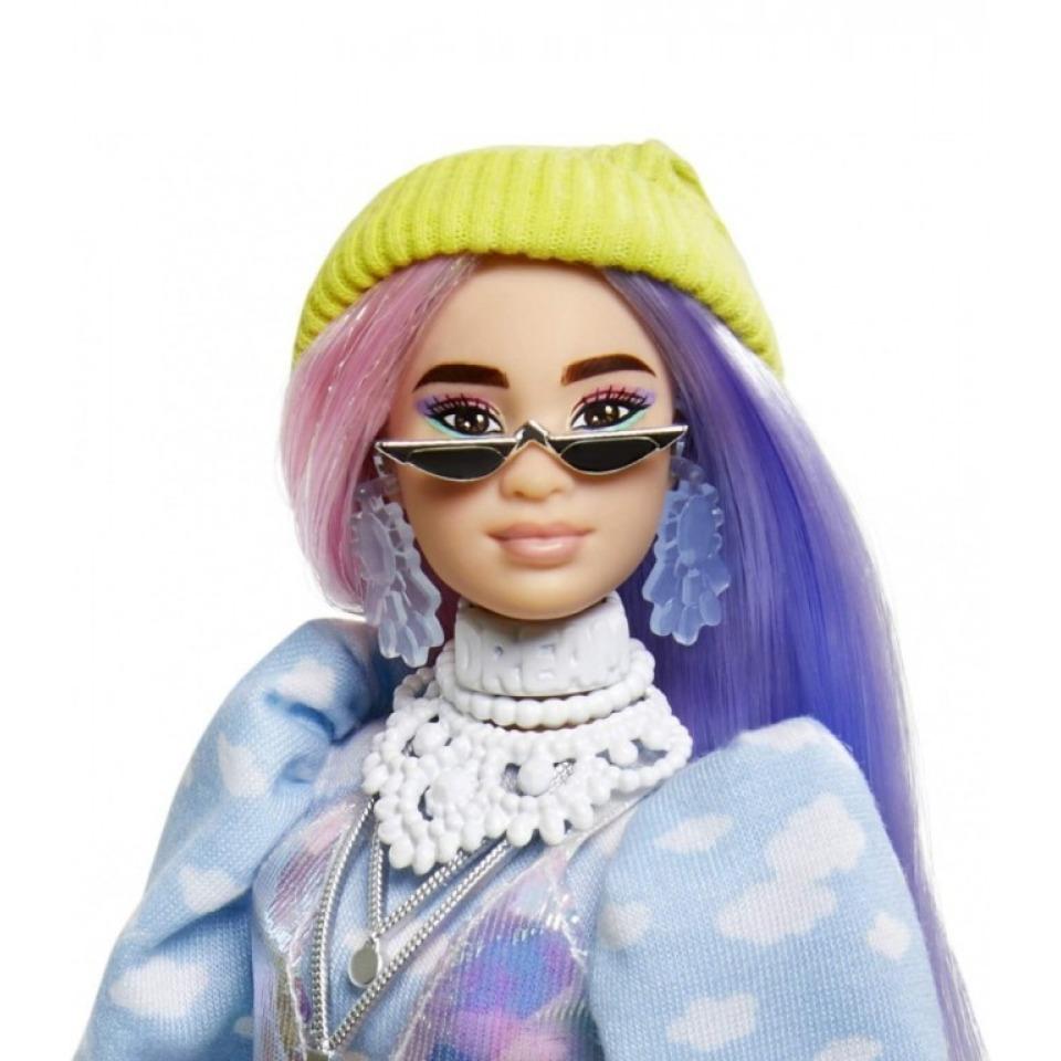 Obrázek 1 produktu Barbie Extra Stylová dlouhovláska s bílým chlupáčem, Mattel GVR05