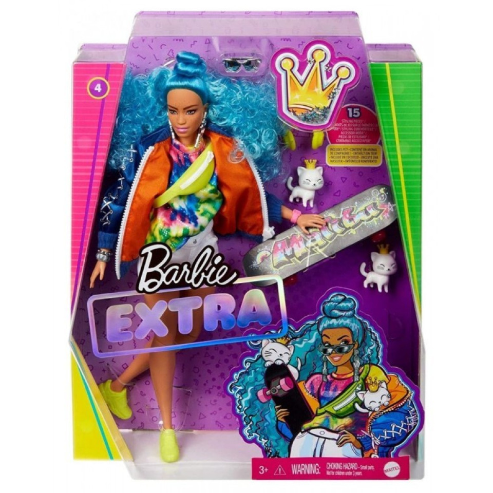 Obrázek 3 produktu Barbie Extra Stylová dlouhovláska s kočkama a skateboardem, Mattel GRN30