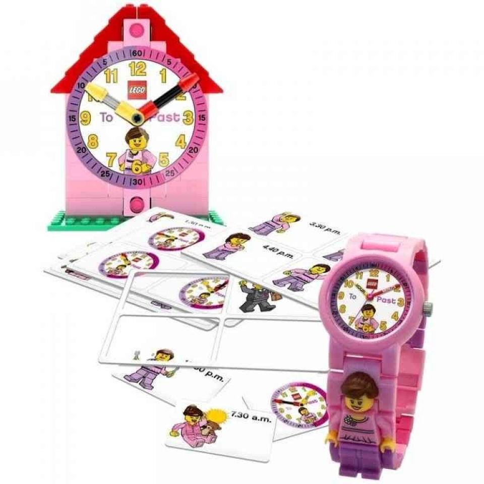 Obrázek 1 produktu LEGO Time Teacher výuková stavebnice hodin + hodinky růžové (poškozený obal)