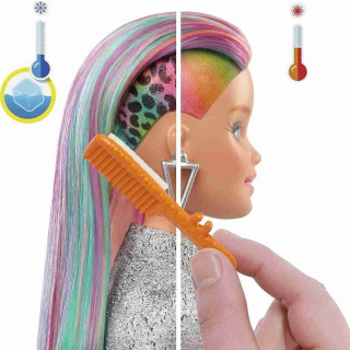 Obrázek 2 produktu Barbie Leopardí panenka s duhovými vlasy a doplňky, Mattel GRN81