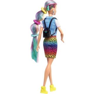 Obrázek 4 produktu Barbie Leopardí panenka s duhovými vlasy a doplňky, Mattel GRN81