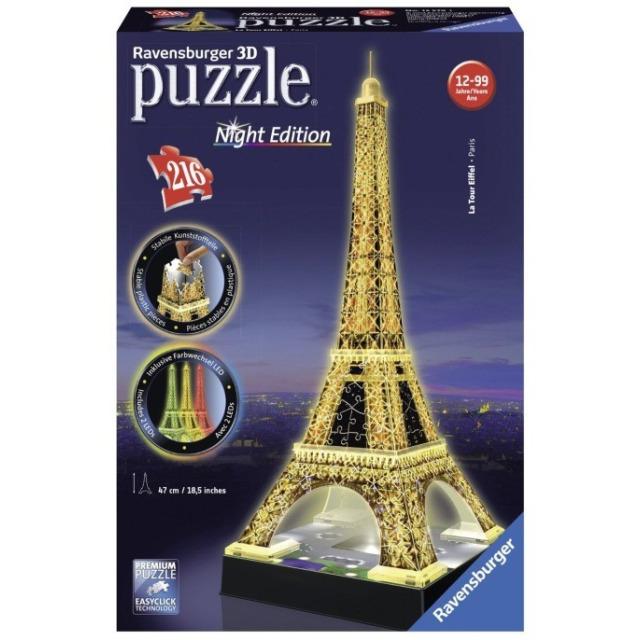 Obrázek produktu Ravensburger 12579 Puzzle 3D Eiffelova věž svítící, Noční Edice, 216 dílků