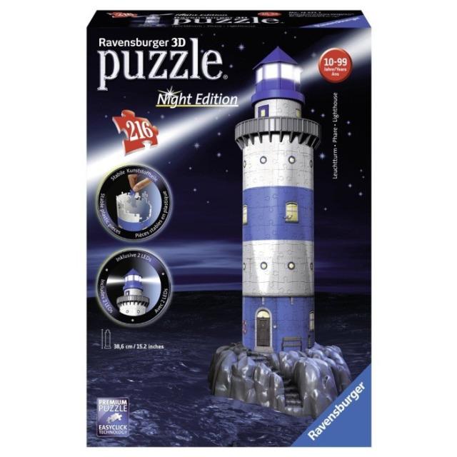 Obrázek produktu Ravensburger 12577 Puzzle 3D Maják v příboji, Noční Edice, 216d.