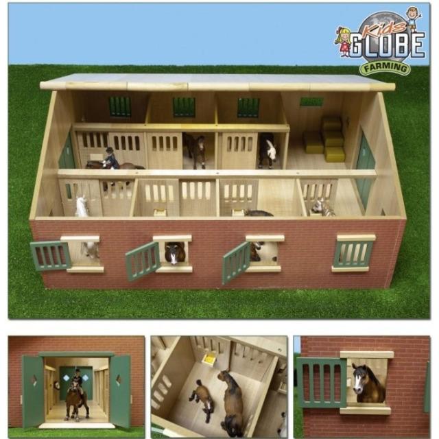 Obrázek produktu Kids Globe Dřevěné koňské stáje 1:24, 72,5 x 60 x 37,5 cm