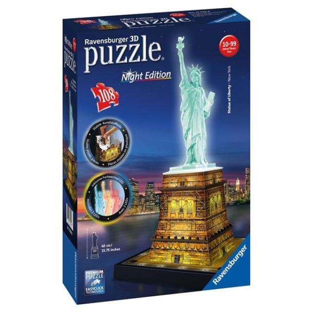 Obrázek produktu Ravensburger 12596 Puzzle 3D Socha svobody, Noční Edice, 108d.