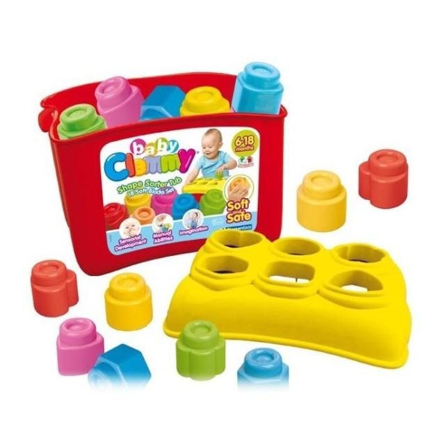 Obrázek produktu Clemmy Baby Vkládačka, prostrkovací kyblík s 18 měkkými kostkami