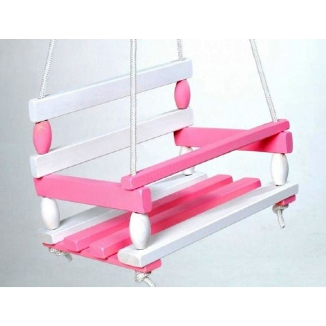 Obrázek produktu Houpačka dřevěná bílo-růžová 38 x 30 cm