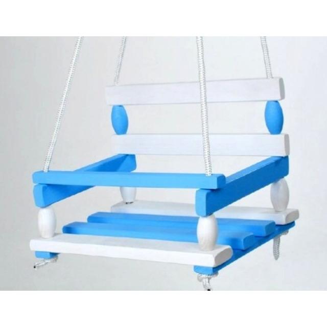 Obrázek produktu Houpačka dřevěná bílo-modrá 38 x 30 cm