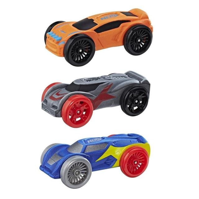 Obrázek produktu NERF Nitro náhradní vozidla 3 ks, oranžové, modré, šedé. Hasbro C0777
