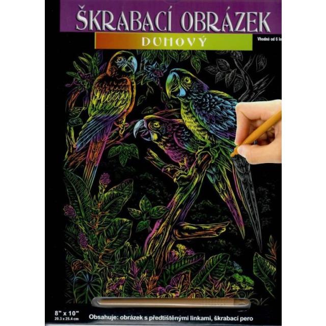 Obrázek produktu Škrábací obrázek duhový Papoušci