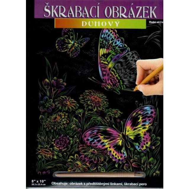 Obrázek produktu Škrábací obrázek duhový Motýlci