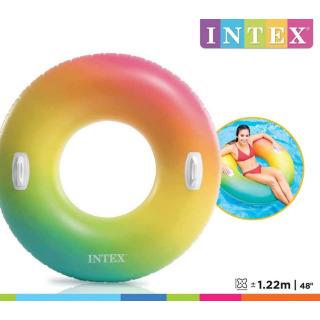 Obrázek 1 produktu Intex 58202 Kruh plovací s úchyty Rainbow Ombre 122cm