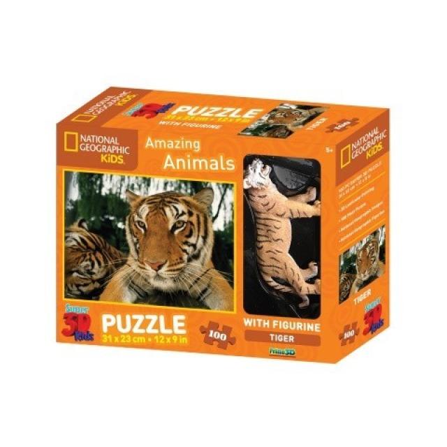 Obrázek produktu 3D Puzzle Tygr 100 dílků + figurka tygra