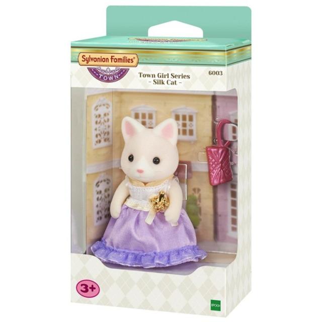 Obrázek produktu Sylvanian Families 6003 Město - Hedvábná kočka ve fialových šatech s kabelkou