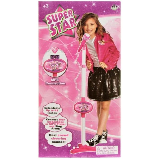 Obrázek produktu Super Star mikrofon se stojanem růžový, MP3 vstup