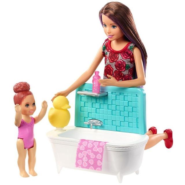 Obrázek produktu Barbie Chůva herní set v koupelně, Mattel FXH05