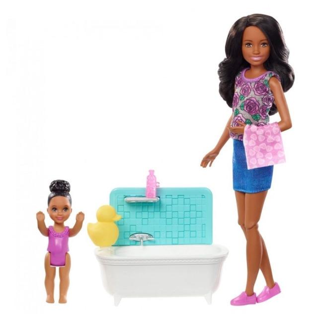 Obrázek produktu Barbie Chůva herní set v koupelně, Mattel FXH06