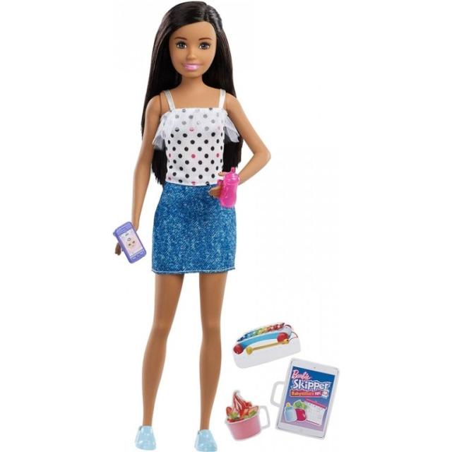 Obrázek produktu Barbie Skipper Chůva Brunetka v riflové sukni, Mattel FXG92