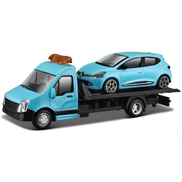 Obrázek produktu Burago Flatbed Transport 1:43 + Renault Clio modré