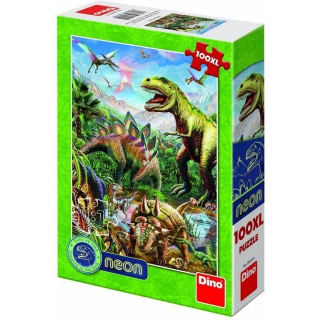 Obrázek produktu Puzzle Svět dinosaurů 100 DXL neon, Dino