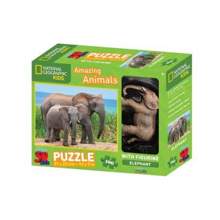 Obrázek 1 produktu 3D Puzzle Slon 100 dílků + figurka slona