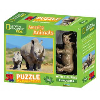 Obrázek 1 produktu 3D Puzzle Nosorožec 100 dílků + figurka nosorožce