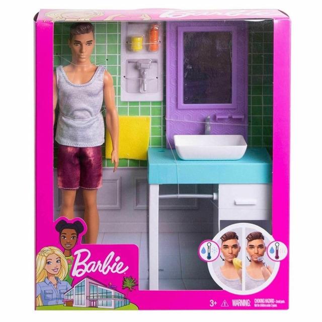 Obrázek produktu Barbie Ken s nábytkem - Koupelna, Mattel FYK53