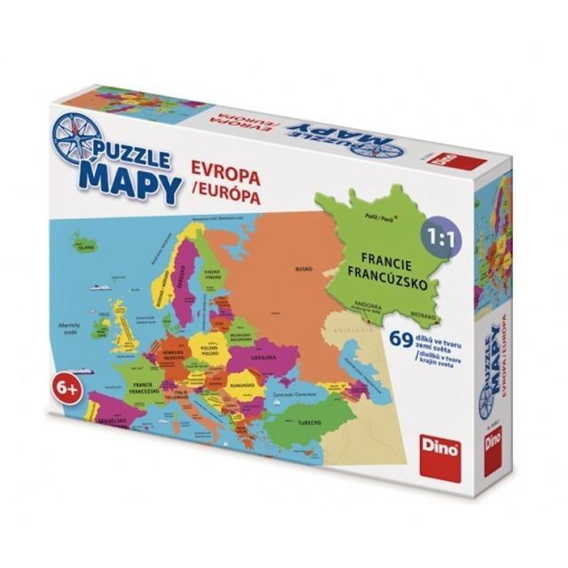 Obrázek produktu Puzzle mapy Evropa ve tvaru zemí, 69d. Dino