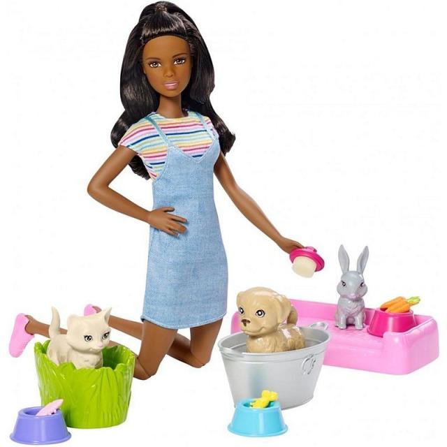 Obrázek produktu Mattel Barbie Koupání zvířátek černoška, Mattel FXH12