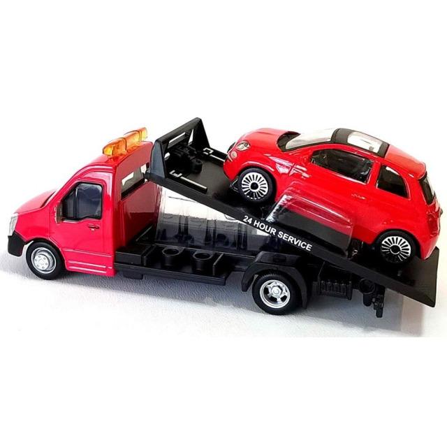 Obrázek produktu Burago Flatbed Transport 1:43 + Fiat 500 červené
