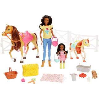 Obrázek 1 produktu Mattel Barbie Herní set s koníky brunetka, FXH16