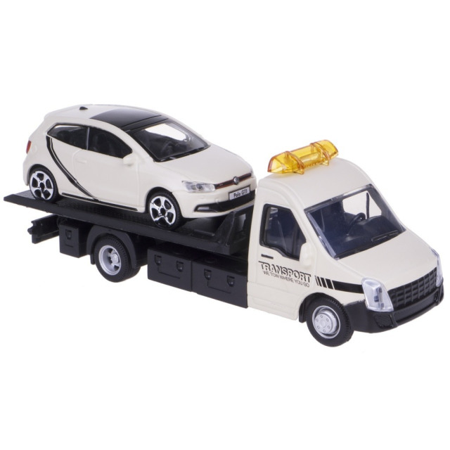 Obrázek produktu Burago Flatbed Transport 1:43 + Wolksvagen Polo GTI béžové