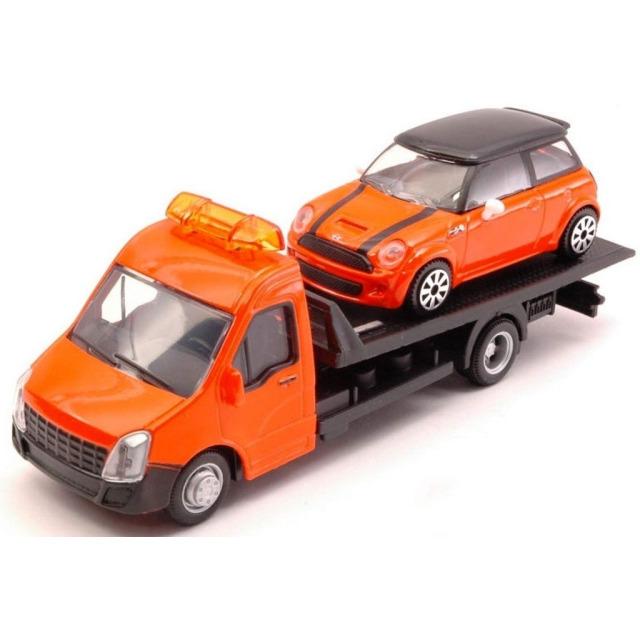 Obrázek produktu Burago Flatbed Transport 1:43 + Mini Cooper oranžové