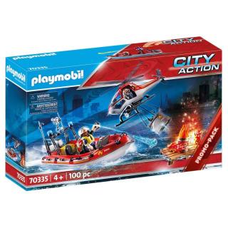Obrázek 1 produktu Playmobil 70335 Hasiči s člunem a helikoptérou